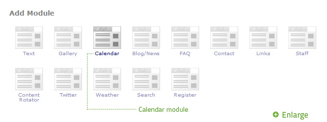Select Calendar from the Add Module popup.
