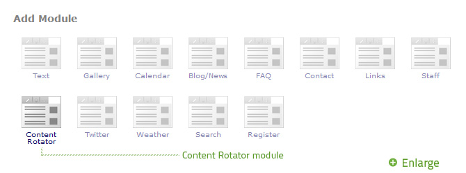 Select Content Rotator from the Add Module popup.