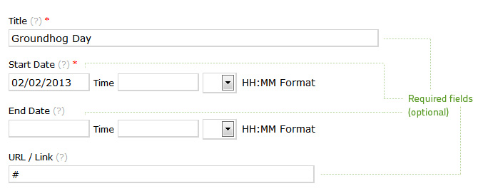 Enter Title, Start Date, and a Hash as the URL/Link to create an unlinkable event. End date is optional but necessary on multi-day events.