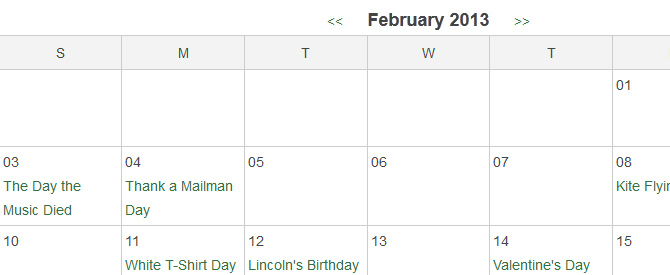 A static calendar displays the events, but does not link to further details.